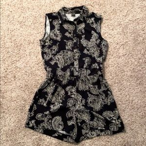 Ann Taylor Button Up Black and White Romper